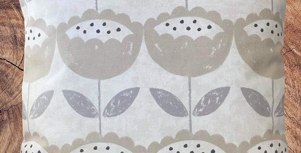 Scandi Flowers cushion cover - Floral Cushion Cover - Cream & Beige
