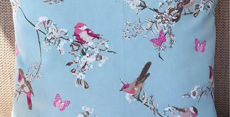 Birds and Butterflies cushion cover - Blue and Pink - Floral