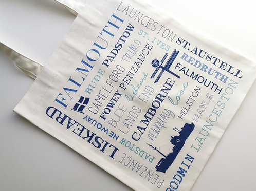 Cornwall places canvas style tote bag
