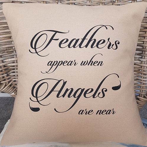 Feathers appear when Angels are near cushion with insert. Colour: Hessian
