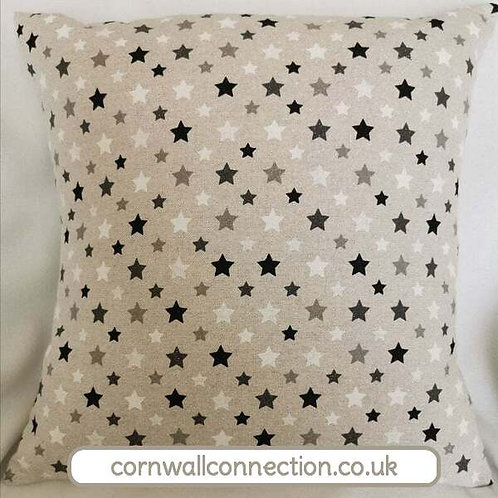Stars and sparkles cushion cover with a sparkly silver thread