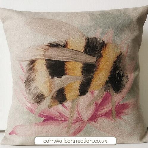 Giant BEE cushion cover - Bombini Bumble bee on flower - Bumblebee