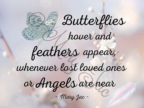 """Butterflies hover ..."" Angel signs poem - Digital file download - 10"" x"