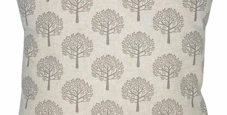Money tree - Mulberry tree print cushion cover - on a linen look background