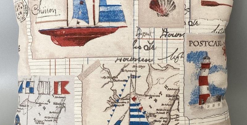 Nautical Lighthouse, Boats, Anchors, Shells, Maps Cushion cover - Coastal - Sea