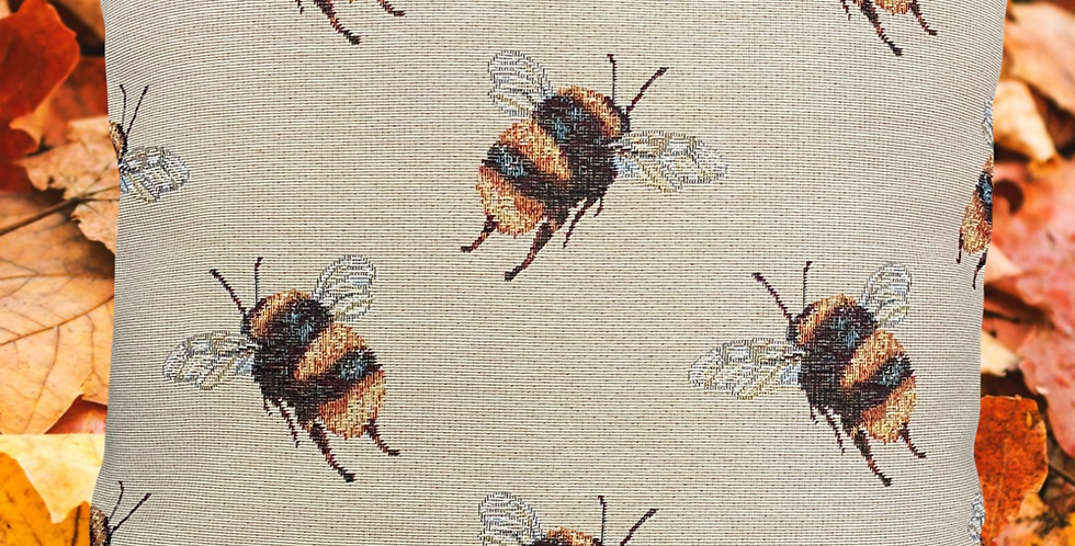 LARGE Bees cushion cover - 10cm Bumblebees! Tapestry effect fabric