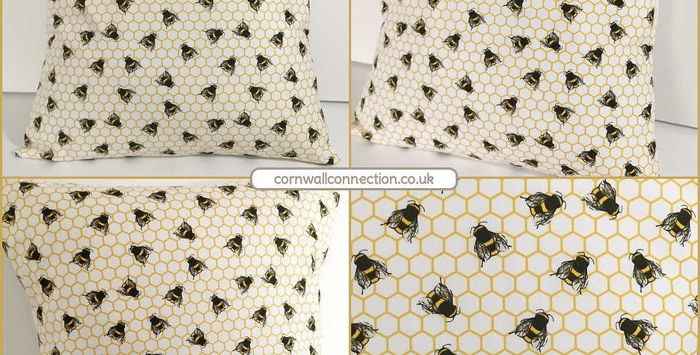 BEES Cushion cover - Honeycomb Bee print - IVORY -Beehive cushion cover