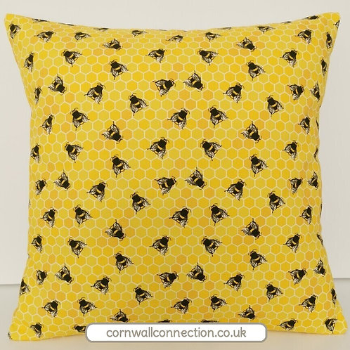 BEES Cushion cover - Honeycomb Bee print - GOLD -Beehive cushion cover
