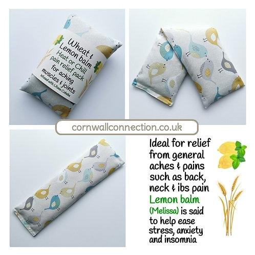 Wheat pack with Lemon Balm & Litsea, Heat/Chill, pain relief, healing - Birds