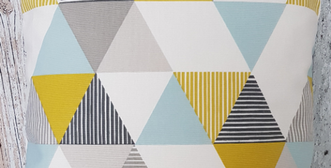 Scandi Geometric Cushion cover - Retro - Duck egg blue, Ochre, Grey, White