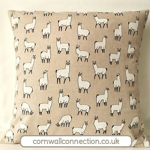 Alpaca cushion cover - Cute Alpacas in various poses on a linen look background