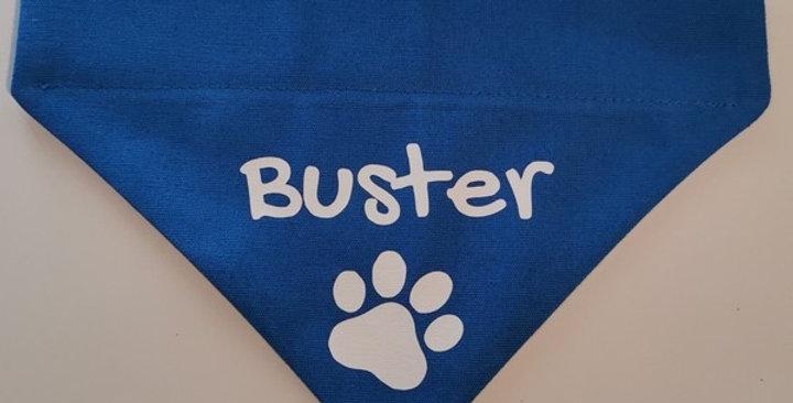 PERSONALISED Dog Bandana - Happy font- 4 SIZES - 2 COLOURS - NAME of your choice
