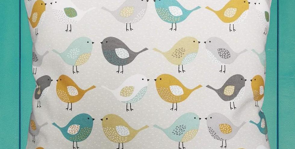 Scandi Birds print cushion cover - Ochre, Grey, Teal, Duck egg blue