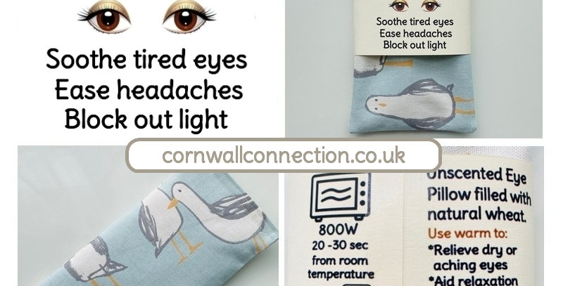 Gulls Eye pillow - Wheat filled - Unscented - Soothe tired eyes - Ease headaches