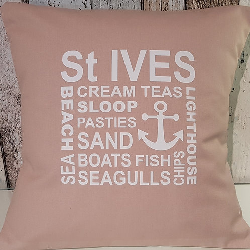 St Ives collage cushion - with pad - Latte - unique
