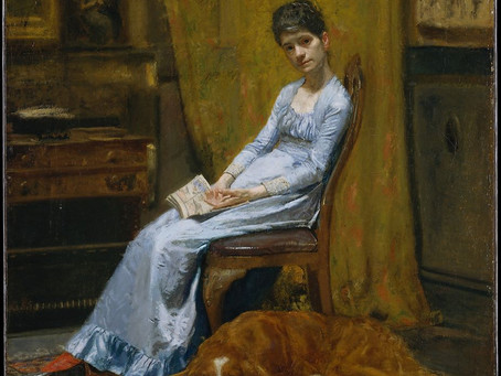 Which American artist painted his wife and their Irish setter?