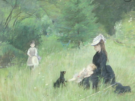Which artist captured this sweet dog and its family relaxing in a meadow?