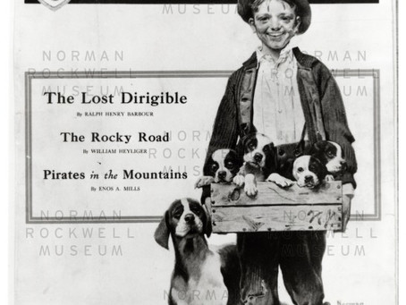 In which year did Norman Rockwell draw this boy with his puppies?