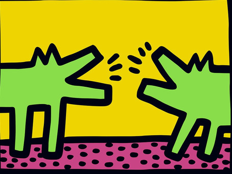 Which 80's artist painted these barking dogs?