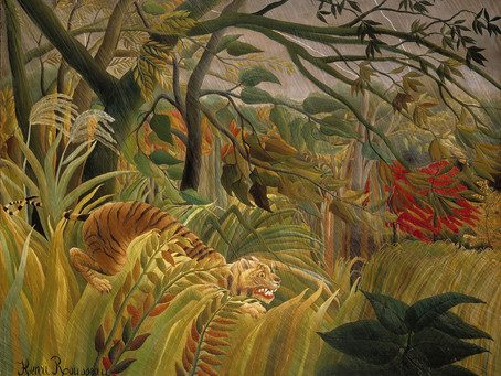 Which famous artist painted this crouching feline in the jungle?