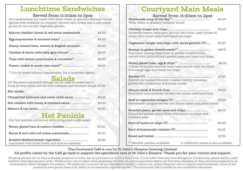 Courtyard Cafe Menu - Sept 2019 Update W