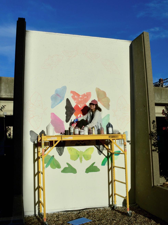 Progress photo of mural