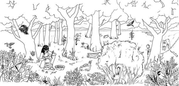 Sketch for Valle De Oro Wildlife Refuge Field Mural