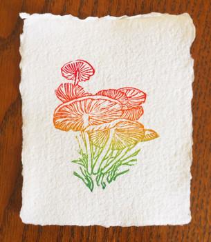 Mushroom linocut print