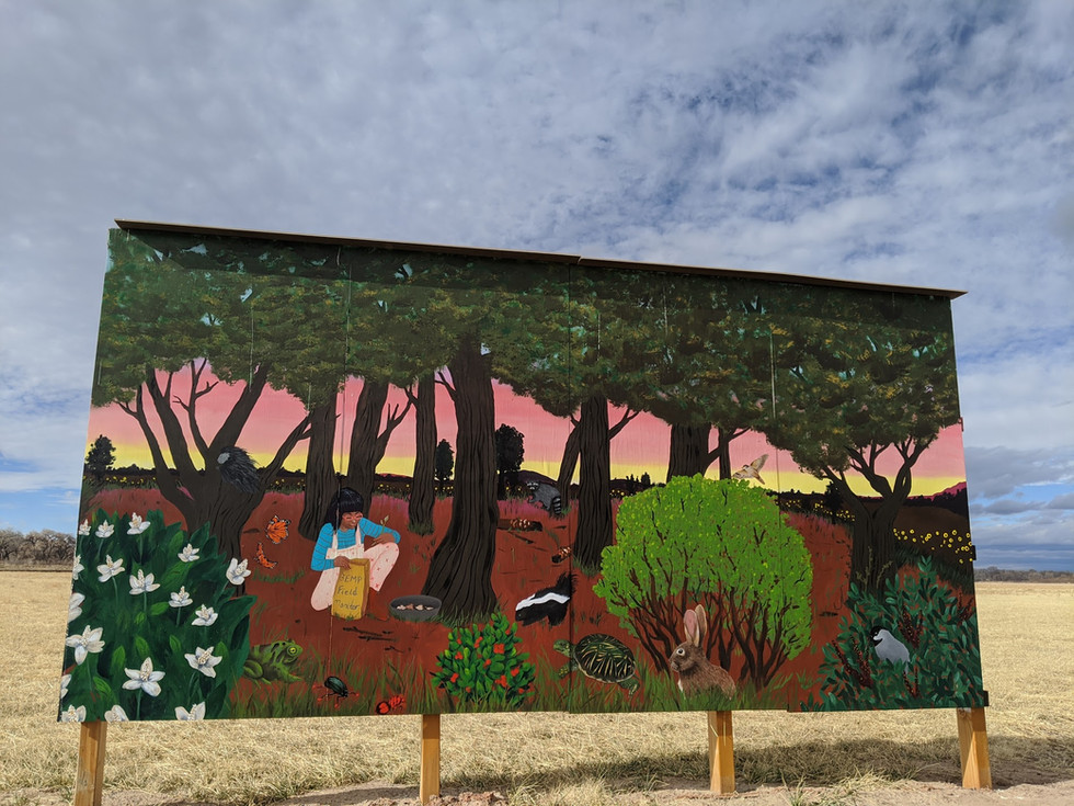 """Jessica Chao's mural """"Sunflower Sings at Dusk/ Bosque Habitat"""""""
