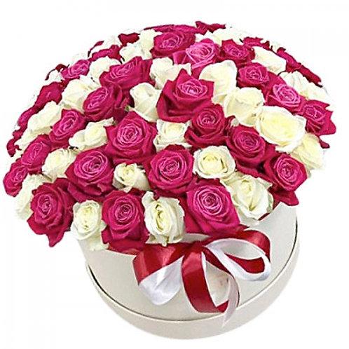 51 роза MIX в шляпной коробке