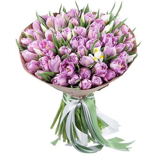 Букет пионовидных тюльпанов и ирисов