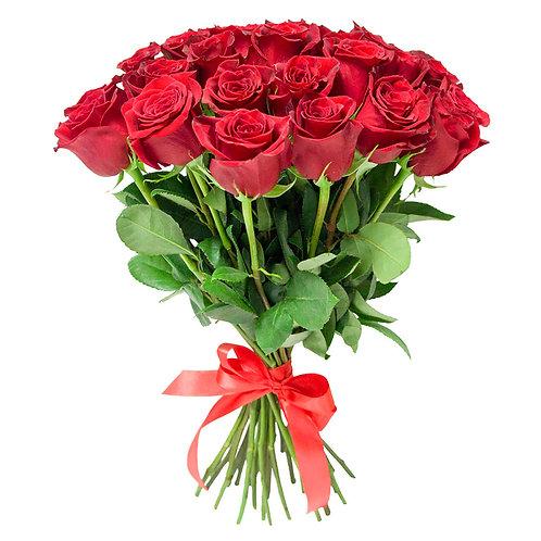 Букет из 25 красных роз 70 см.