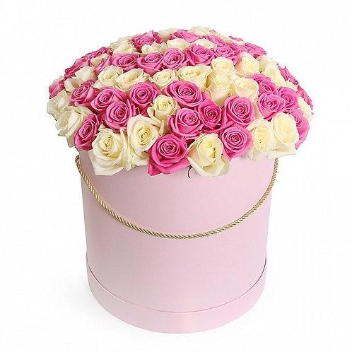 31 роза MIX в шляпной коробке