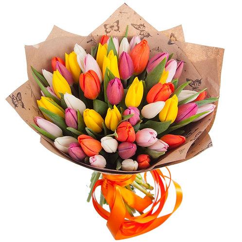 Букет из 35 тюльпанов MIX