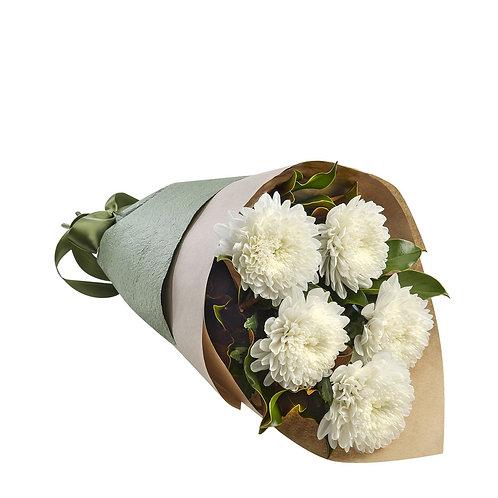 5 крупных хризантем с оформлением