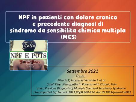 NPF in pazienti con dolore cronico e precedente diagnosi di s. da sensibilità chimica multipla (MCS)