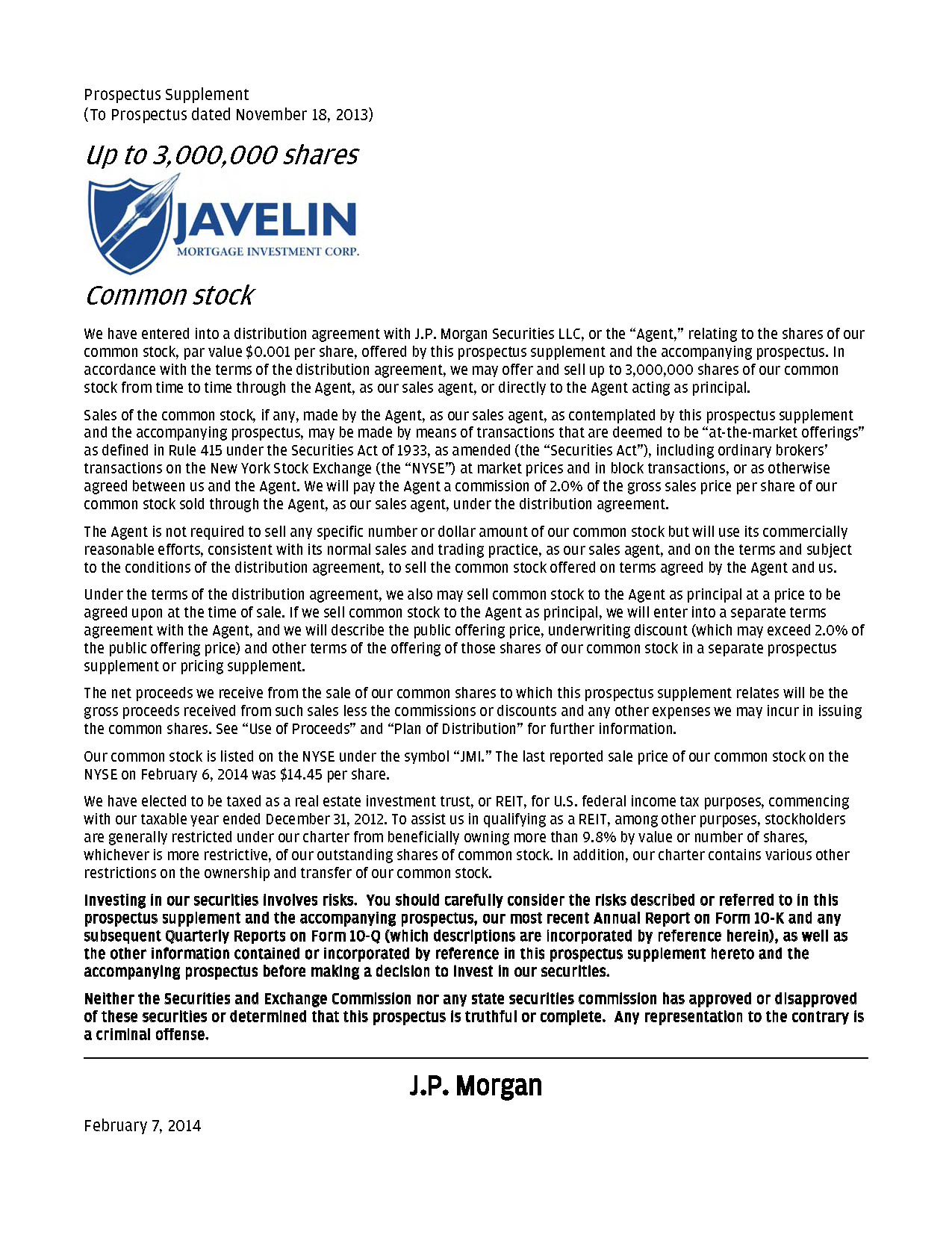 JAVELIN Mortgage Investment Corp.