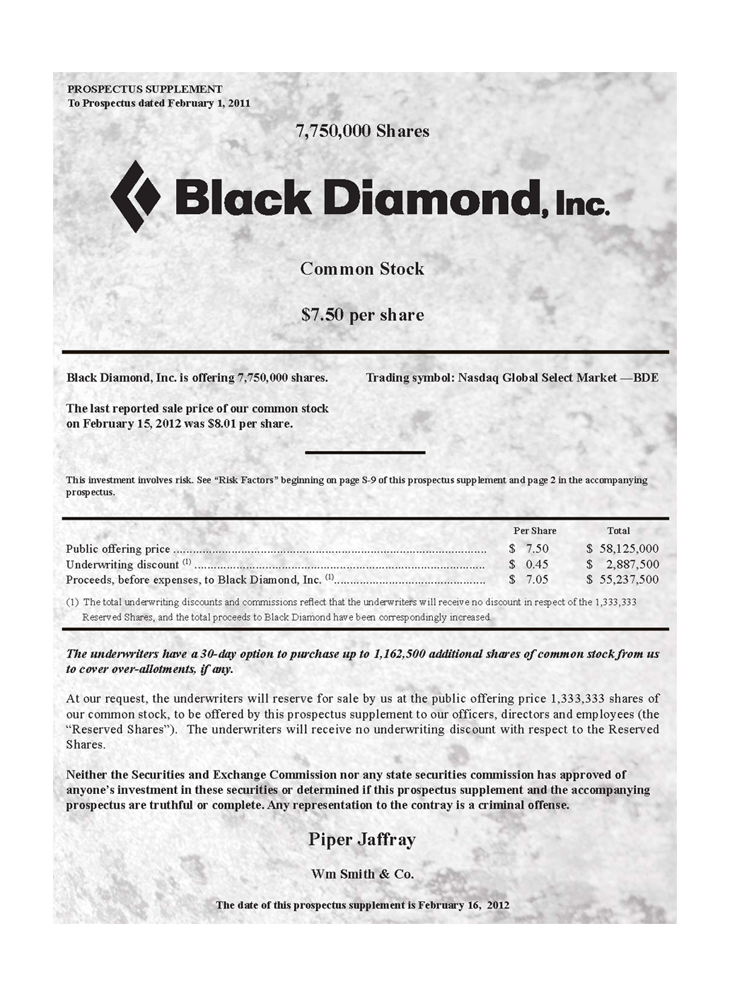 Black Diamond Inc.