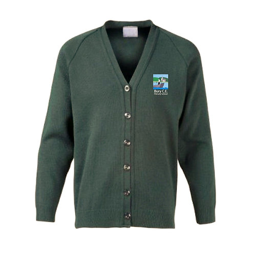 Bury C of E Primary School 100% Cotton Eco Friendly Bottle Green Cardigan
