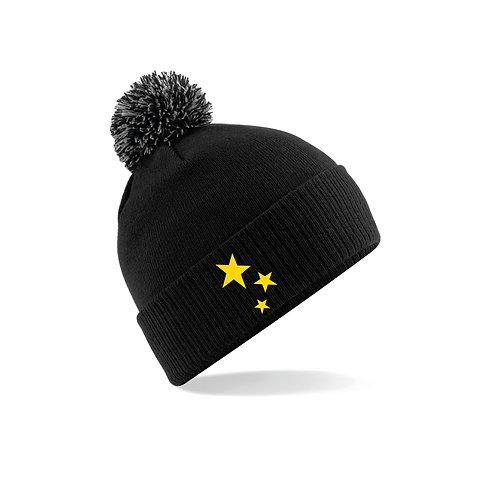 Supporters Black Beanie Pom Pom Hat
