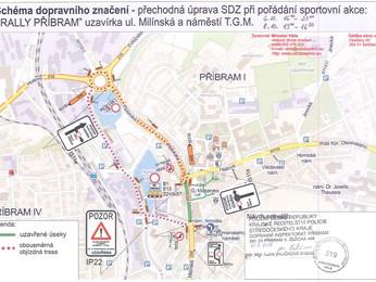 Uzavírky silnic a objízdné trasy v průběhu 38. SVK Rally Příbram