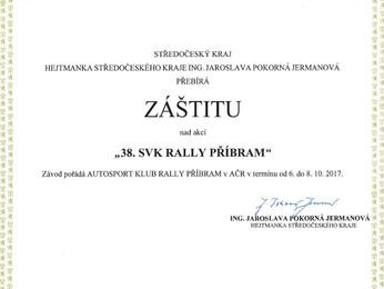 Záštita hejtmanky Středočeského kraje Ing. Jaroslavy Pokorné Jermanové nad 38. SVK Rally Příbram