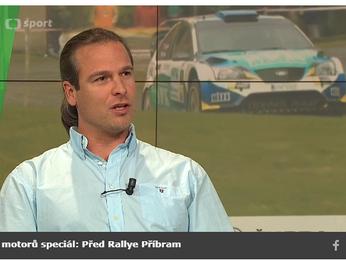 Pozvánka na 39. SVK Rally Příbram z obrazovky ČT Sport - pořad Svět motorů speciál