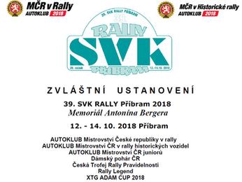 Zvláštní ustanovení 39. SVK Rally Příbram