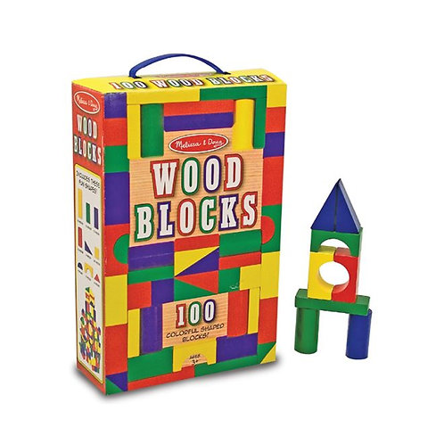 100 Wood Blocks Set บล๊อกไม้ทำสี 100 ชิ้น