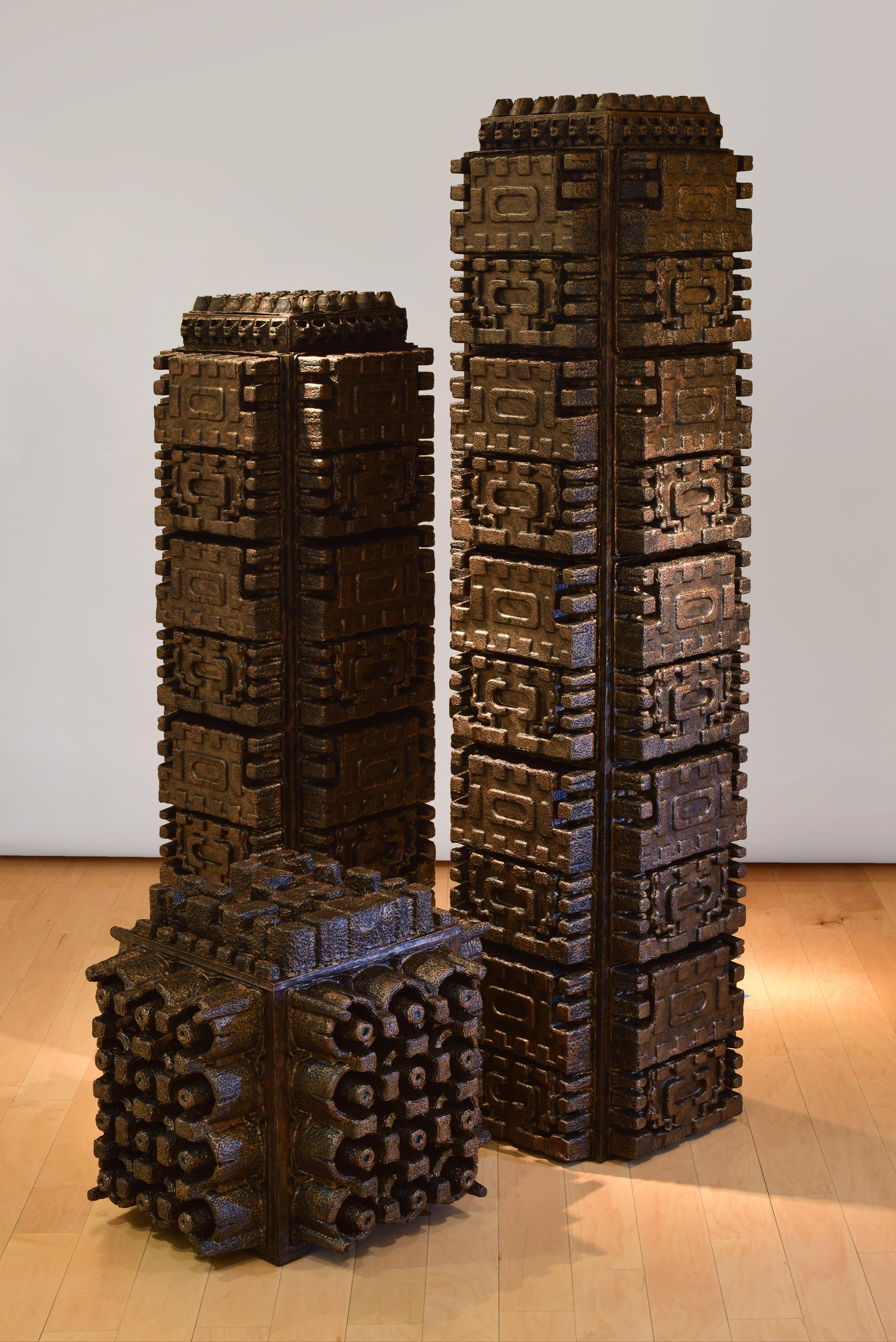 """Three Columns, 79x18.5x18.5"""", 64x18.5x18.5"""", 23x25.5x25.5"""""""