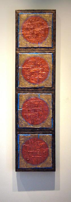 "Four Copper Moons, 48x12"""