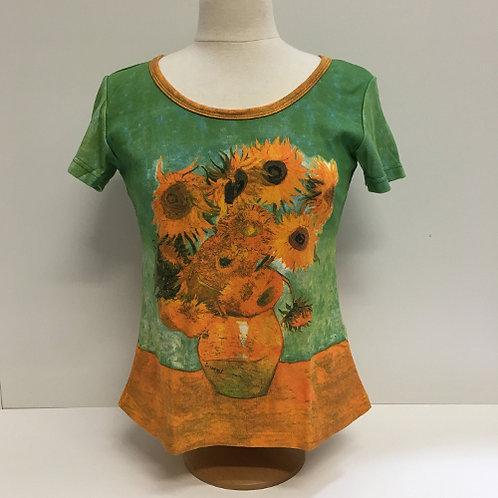 """T-Shirt Korte mouw """"Zonnenbloemen"""" van Vincent van Gogh geel groen"""