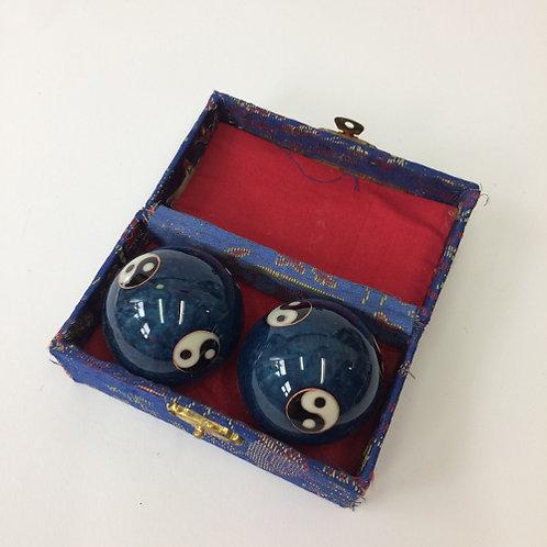Meridiaan kogels blauw/yin yang massageballen