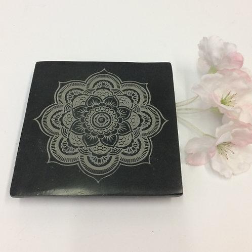 "Wierookbrander ""Mandala zwart steen incense burner"
